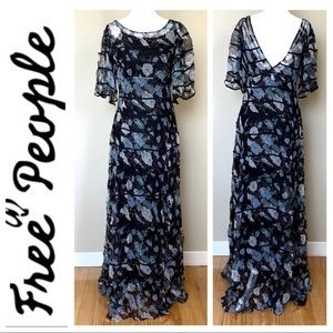 NWOT FREE PEOPLE Tiered Floral Print Maxi DRESS